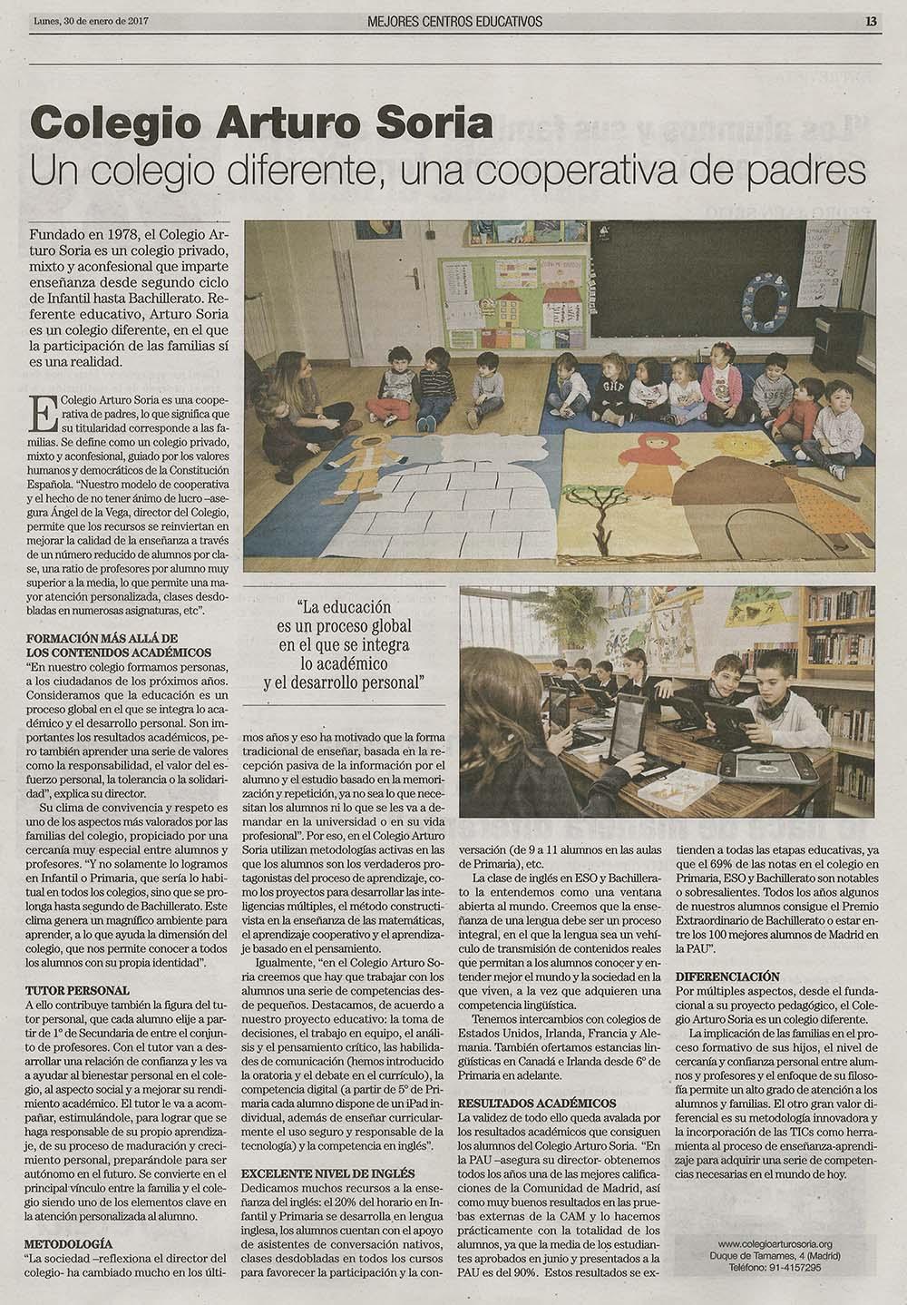 El País 30 de enero de 2017. Mejores centros educativos, Colegio Arturo Soria