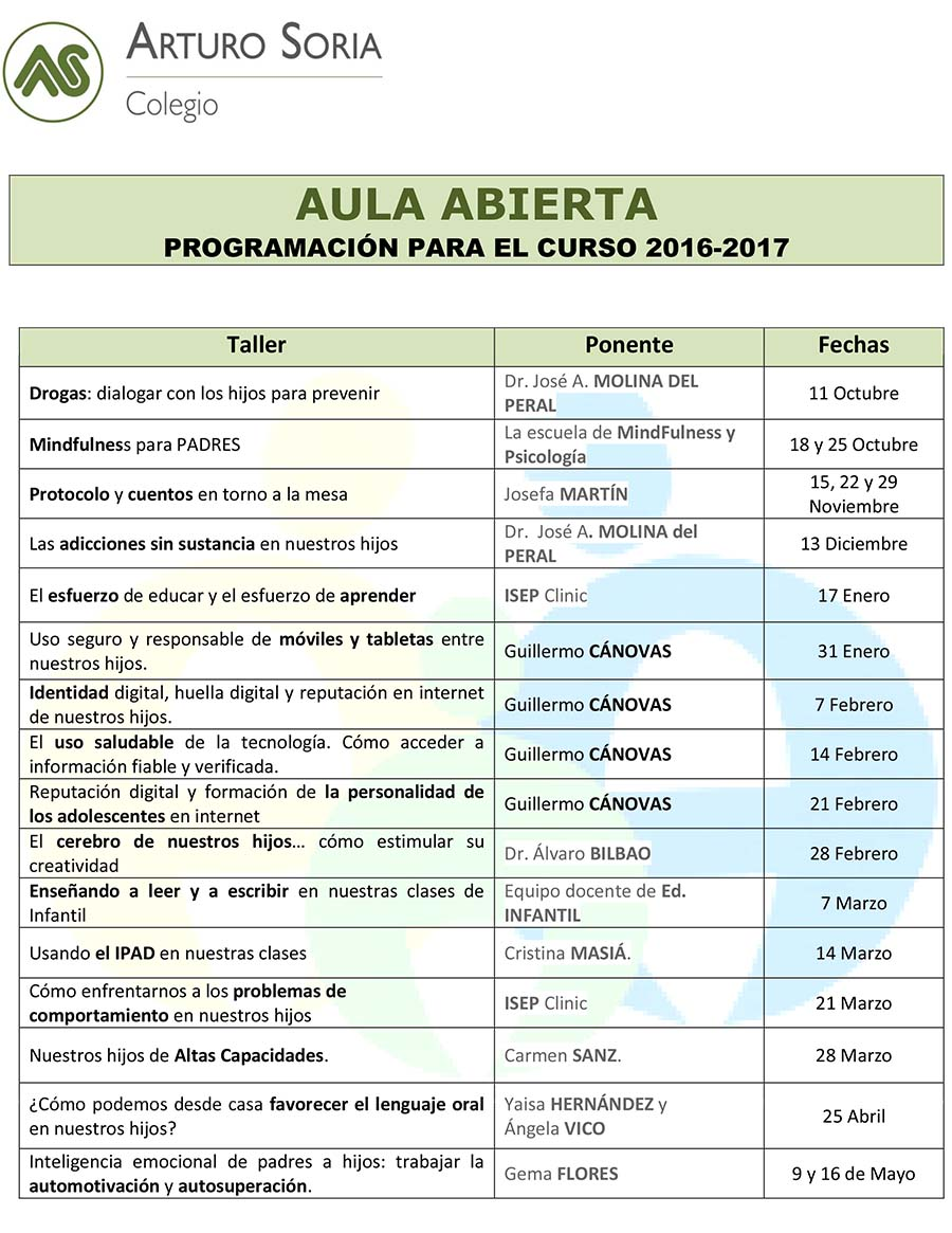 Programa Aula Abierta 2016-2017