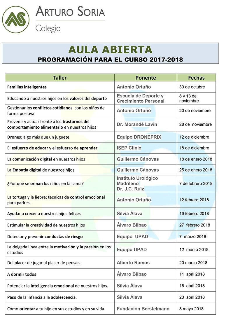 Programación Aula Abierta curso 17-18