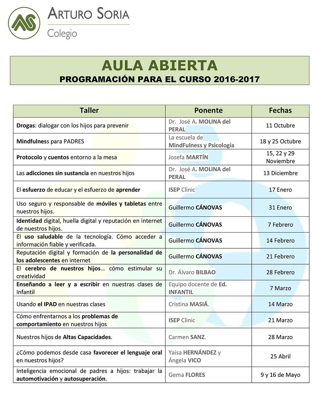 Programa de talleres de Aula Abierta 16-17