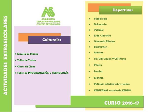 Actividades Agrupación Deportiva y Cultural Arturo Soria 2016-2017