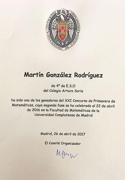 alumnos del Colegio Arturo Soria participaron en la XXI edición del Concurso de Primavera