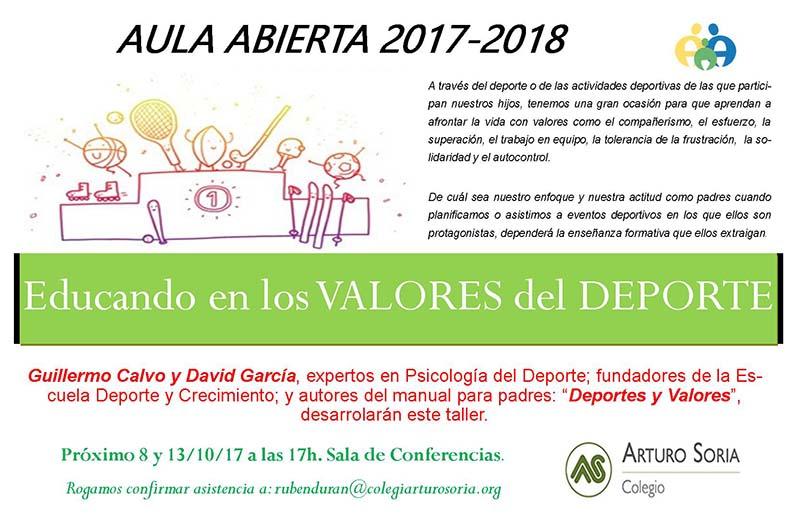 Nuevo tallerde Aula Abierta titulado: Educando a nuestros hijos en los Valores del Deporte.