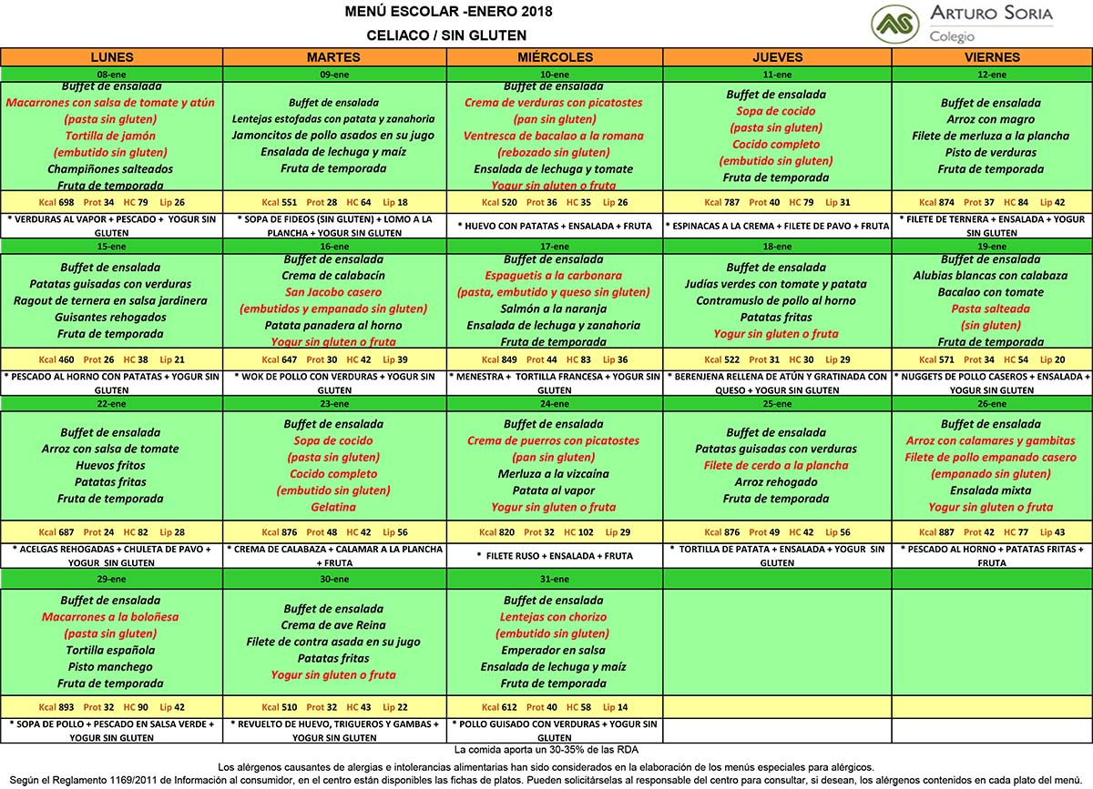 Menú enero Colegio Arturo Soria