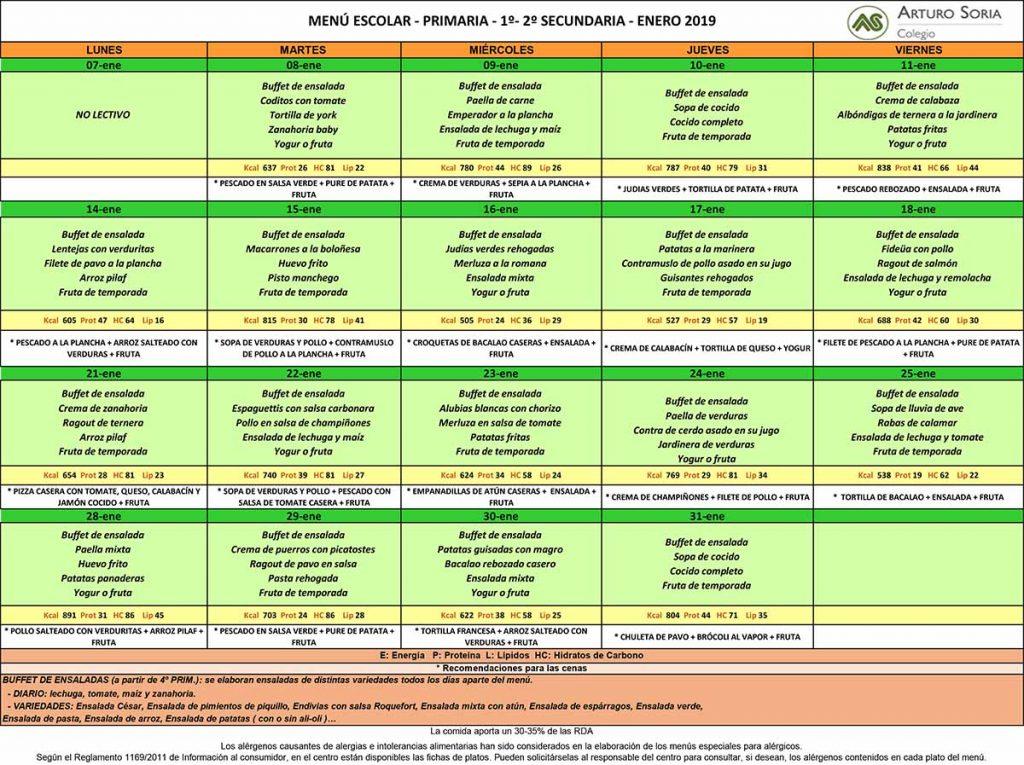 Menú Primaria enero, 1º y 2º Secundaria. Comedor escolar. | Colegio ...