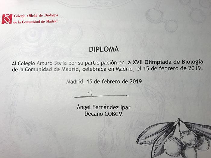 El Colegio Arturo Soria participa en la XVII Olimpiada de Biología  de la Comunidad de Madrid